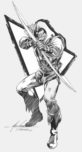Green Arrow, pencils by Mike Grell, inks by Joe Rubinstein