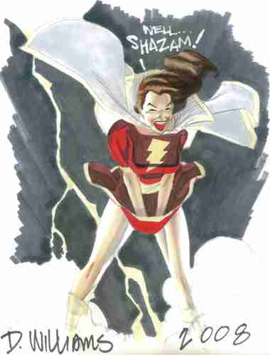 Mary Marvel, mixed media art by comics artist David Williams