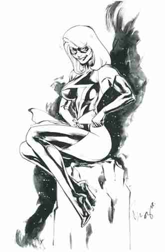 Ms. Marvel, pencils and inks by comics artist Buzz