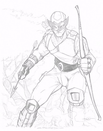 Hawkeye, pencils by comics artist Thomas Hodges