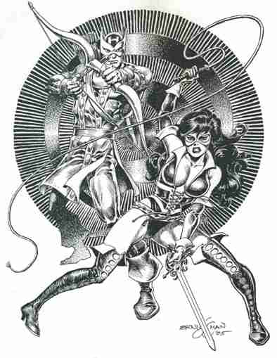 Hawkeye and Lady Rawhide, pencils and inks by comics artist Ernie Chan