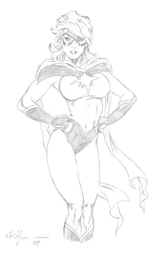 Ms. Marvel, pencils by comics artist MC Wyman