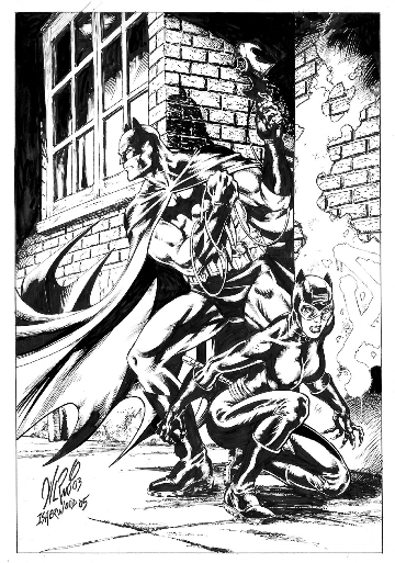 Batman and Catwoman, pencils by Al Rio, inks by Geof Isherwood