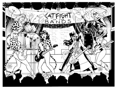 Catfight of the Bands, pencils and inks by comics artist Gene Gonzales