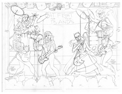 Catfight of the Bands rough pencil draft by Gene Gonzales