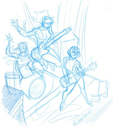 Josie and the Pussycats, blue pencil rough sketch by Gene Gonzales