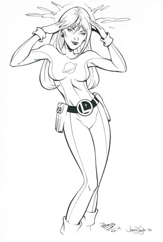 Saturn Girl, pencils by Michael Dooney, inks by James Taylor