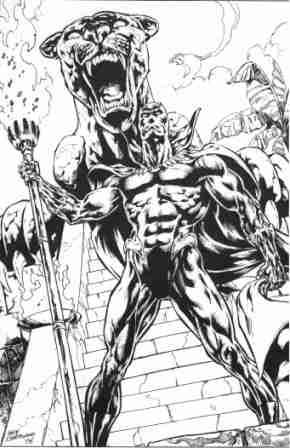 The Black Panther, pencils and inks by comics artist Geof Isherwood