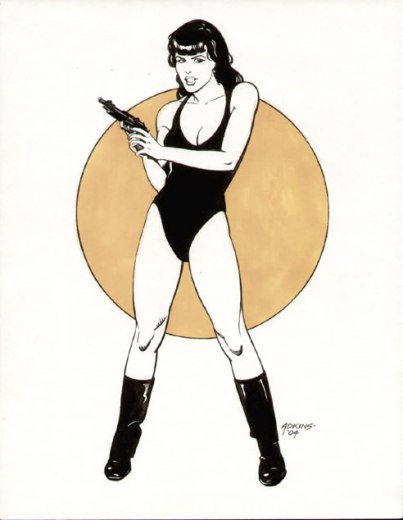 A girl and her gun, pencils and inks by comics artist Dan Adkins