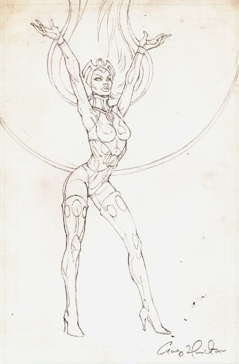Storm, preliminary pencil sketch by comics artist Craig Hamilton