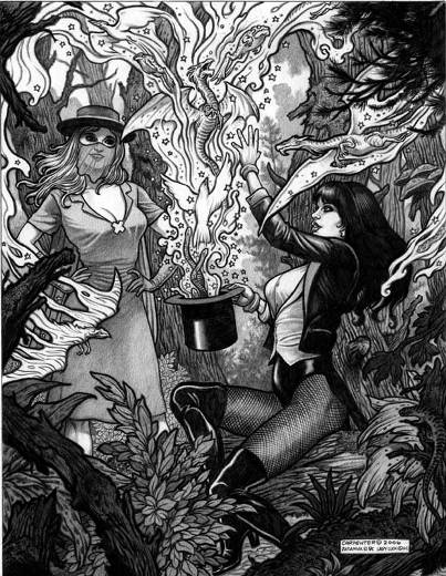 Lady Luck and Zatanna, pencils by comics artist Anthony Carpenter