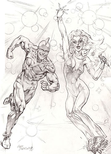 The Ray and Dazzler, pencils by comics artist Geof Isherwood