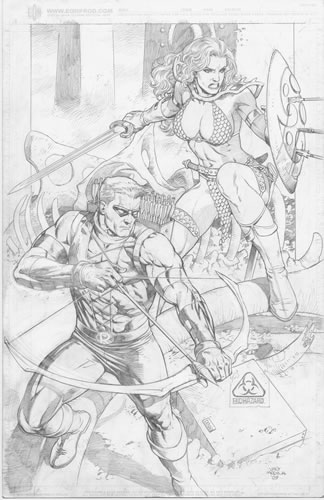 Red Arrow and Red Sonja, pencils by comics artist Lan Medina