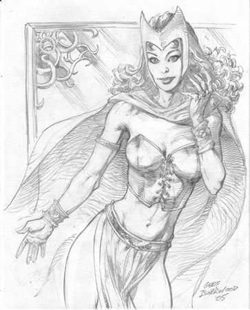 The Scarlet Witch, pencils by comics artist Geof Isherwood
