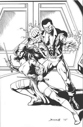 Elektra and Black Lightning, pencils and inks by comics artist Darryl Banks