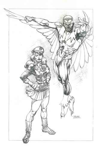 """Blackbirds of Prey,"" pencils by comics artist Rags Morales"