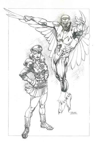 """Blackbirds of Prey,"" pencils by comics artist Rags Morales"