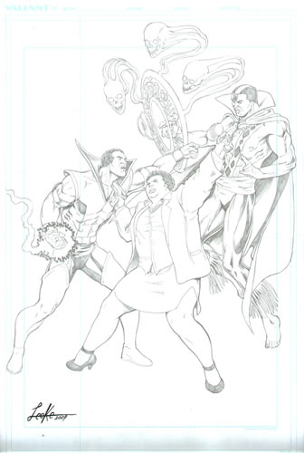 Tempest, Amanda Waller, and Brother Voodoo, pencils by comics artist Mike Leeke