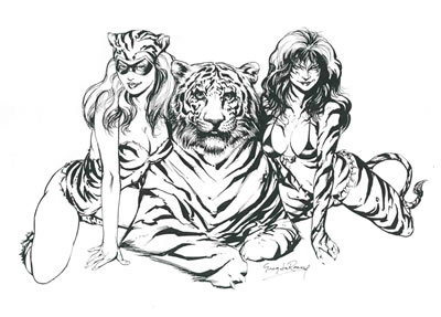 Tiger Girl and Tigra, pencils and inks by comics artist Greg LaRocque