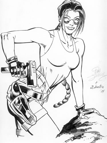 Lara Croft, Tomb Raider, pencils by Dan Jurgens, inks by Joe Rubinstein