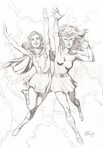 Mary Marvel and Marvel Girl, pencils by comics artist Geof Isherwood