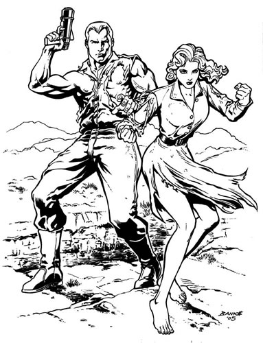 Doc Savage and Patricia Savage, pencils and inks by comics artist Darryl Banks