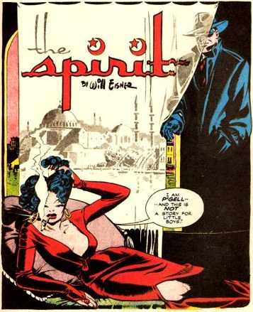 The Spirit, October 6, 1946, page 1, panel 1, art and script by Will Eisner