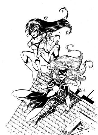 The Spider-Women (Jessica Drew and Julia Carpenter), pencils by Michael Dooney, inks by Joe Rubinstein