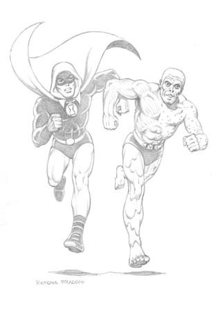 Hourman and Metamorpho, pencils by comics artist Ramona Fradon
