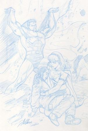 Superman and Supergirl to the rescue, pencils by comics artist Al Rio