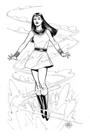 Isis, pencils and inks by comics artist Gene Gonzales