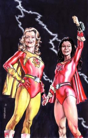 KJ as Electra Woman and KM as Dyna Girl, by comics artist Geof Isherwood