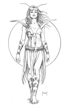 Mantis, pencils by comics artist Mitch Foust