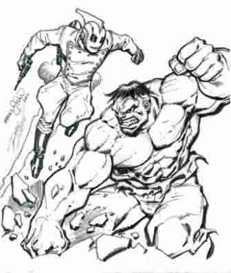 The Rocketeer and the Hulk, pencils by Ron Lim, inks by Ernie Chan