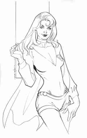 Supergirl, pencils and inks by comics artist Brian Stelfreeze