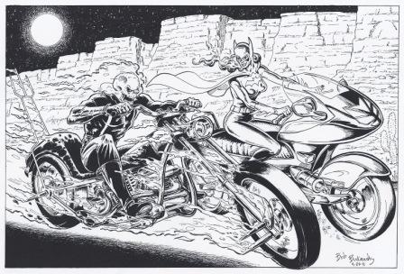 Ghost Rider and Batgirl, pencils and inks by Bob Budiansky