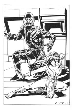 M.A.N.T.I.S. and Mantis, pencils and inks by comics artist Darryl Banks