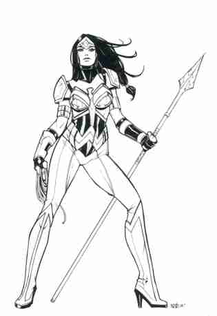 Wonder Woman alternate costume, pencils, inks, and design by Oliver Nome