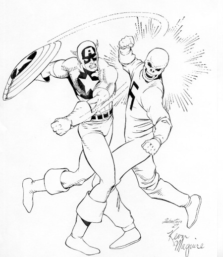 Captain America smacks down the Red Skull, pencils by  Kevin Maguire, inks by Joe Rubinstein