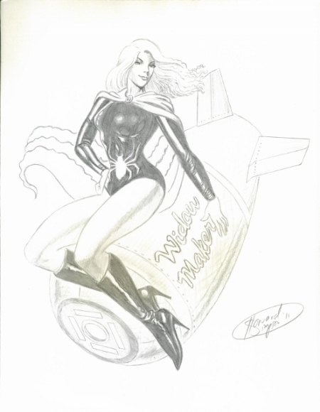 The Black Widow (Golden Age version), pencils by comics artist Howard Simpson
