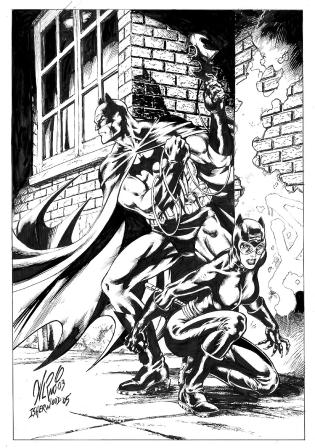 Batman and Catwoman, pencils by Al Rio, inks by Geof Isherwood