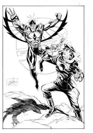 Darkhawk and Blackhawk, pencils and inks by comics artist Tod Smith