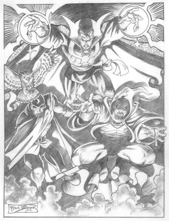 Doctor Strange, Doctor Mid-Nite, and Doctor Druid, pencils by comics artist Frank Brunner