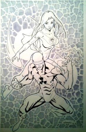 Atom Eve and Doctor Solar, pencils and inks by comics artist Carlo Barberi
