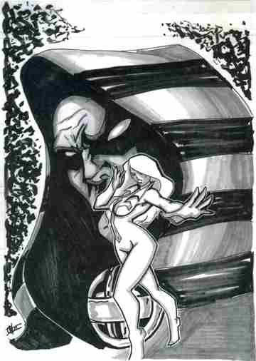 Cloak and Dagger, marker sketch by comics artist Ian D. Walker