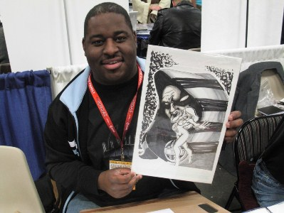 Ian D. Walker with Cloak and Dagger sketch, at WonderCon 2011