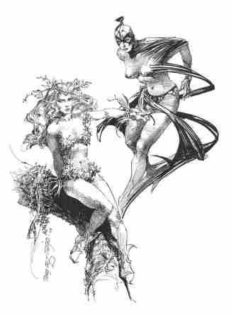 Black Orchid and Poison Ivy, pencils by comics artist Tony DeZuniga
