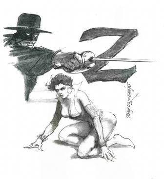 Zorro and Vixen, pencils by comics artist Tony DeZuniga