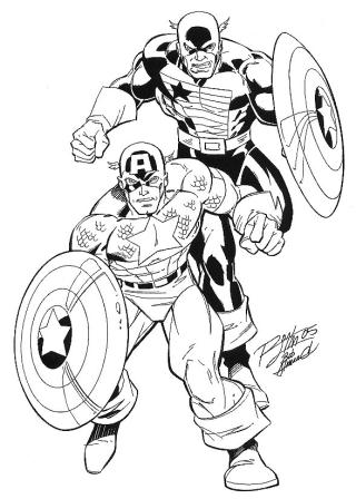 Captain America and the U.S. Agent, pencils by Ron Lim, inks by Bob Almond