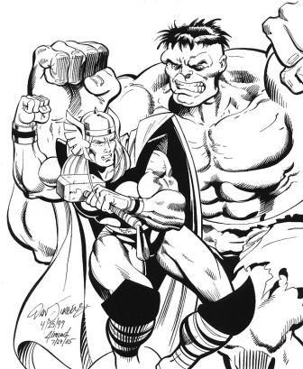 Thor vs. the Hulk, pencils by Dan Jurgens, inks by Bob Almond